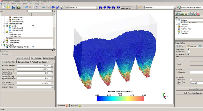 ROCKY interface showing the particle flow in a hopper