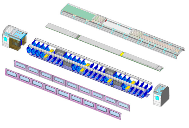 Exploded Train Carriage Model